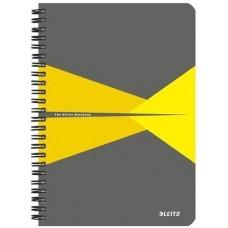 Blok Leitz Office, šedo-žlutá, kroužková vazba, A4, linkovaný, 90 listů, laminovaný